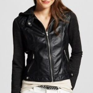 Black faux leather hooded jacket